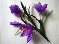 DIY How to make paper crocus/saffron flower - Hoa Nghệ Tây giấy nhún - YouTube