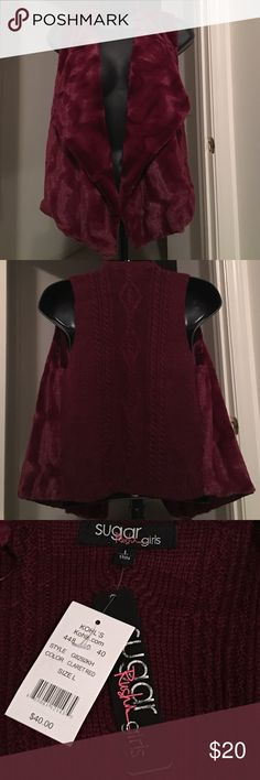 NWT Gorgeous girls Claret Red soft vest Claret red. Back of vest looks like sweater and front is super soft and fuzzy. Your daughter may want to pet it the entire time she wears it. Bought for tomboy daughter and she won't wear it. sugar rush girls Jackets & Coats Vests