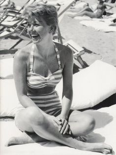 Doris Day on the beach in Cannes