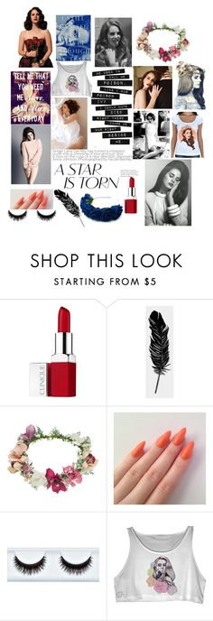 """""""Lana Del Rey my #1 queen i love her"""" by lana21love ❤ liked on Polyvore featuring beauty, Clinique, Tattly, Topshop and H&M"""