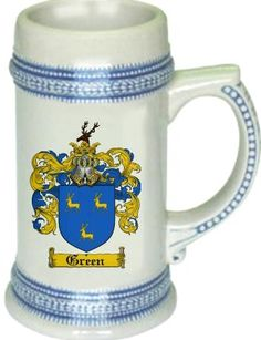 Green Coat of Arms / Family Crest stein mug |  $21.99 at www.4crests.com - This stein starts with the family coat of arms hand drawn digitally. We then use a high quality 22 oz. ceramic stein to apply the coat of arms to via sublimation.