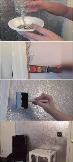 Glitter Accent Wall Ideas , If you would like to make an accent wall in order to add intensity to your room, you may select neon colours. You can also produce an accent wall util. Decoration Bedroom, Diy Home Decor, Wall Decor, Wall Art, Diy Wand, Glitter Bedroom, Glitter Walls, Glitter Paint Wall Diy, Glitter Eye
