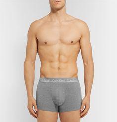 Calvin Klein Underwear MÉlange Stretch-cotton Boxer Briefs In Gray Calvin Klein Men Underwear, Boxer Briefs, Logo Branding, Trousers, Slim, Mens Fashion, Gray, Swimwear, Clothes