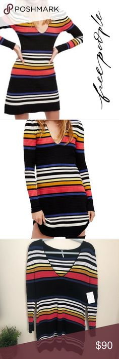 28d4c7fea9 Free People gidget sweater dress Free People Gidget Sweater Dress Knit Mini  Retro Striped V-Neck Textured knit sweater dress Pullover style and v-neckline  ...