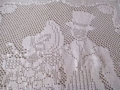 Vintage Twin Poster Bedspread  Figural Crocheted Insert Victorian Couple  75X98