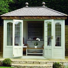 The Ashton - Malvern Garden Buildings. The perfect way to relax outdoors all year round! The Ashton is available in a range of sizes and colours. #malverngardenbuildings #gardenbuilding #summerhouse #gardeninspo #gardengoals #perfectgarden #gardeninspiration