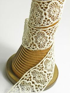love the contrast of wood and lace