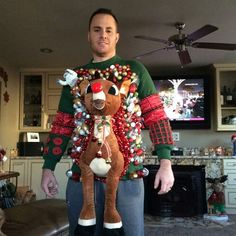 Reader Heather Holloway sent us this hilarious photo of a very impressive Rudolph ugly Christmas sweater (see a previous photo from Heather). We're told it was for a little friendly family competit...