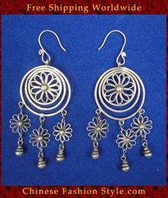 Tribal Silver Earrings Chinese Ethnic Hmong Miao Jewelry #329 Uniquely Handmad  http://www.chinesefashionstyle.com/earrings/