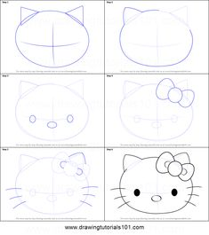 How to draw Hello Kitty face step by step printable drawing sheet to print. Learn How to draw Hello Kitty face Hello Kitty Drawing, Hello Kitty Art, Hello Kitty Nails, Sanrio Hello Kitty, Kawaii Doodles, Cute Doodles, Drawing Tutorials For Kids, Drawing For Kids, Doodle Drawings