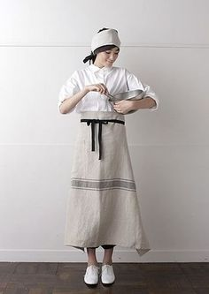 Apron with simple black ribbons