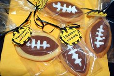 Simple football sugar cookies! Make Cute green & gold tags too!