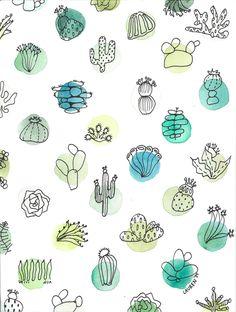 Print inspiration cactus et aquarelle ! Illustration Blume, Pattern Illustration, Surface Pattern Design, Pattern Art, Vector Pattern, Stoff Design, Pretty Patterns, Watercolor Print, Watercolor Cactus