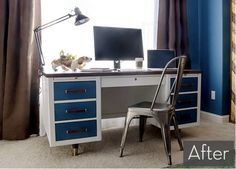 From Beige to Blue: MCM Desk Gets Colorful Makeover