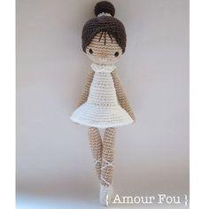 Paloma the Ballerina Crochet Pattern by Amour Fou Knitted Dolls, Crochet Dolls, Crochet Baby, Half Double Crochet, Single Crochet, Ballerina, Crochet Stitches, Crochet Patterns, Crochet Doll Tutorial