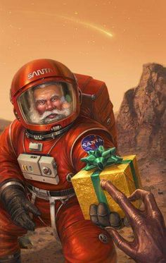 """ufo-the-truth-is-out-there: """"Merry Mars: by Chris Trevas """" Father Christmas, Christmas Art, Christmas Comics, Xmas, Christmas Design, Science Fiction Kunst, Arte Alien, Alien Art, Aliens And Ufos"""