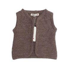 Esencia vest i blød alpaka uld - brun - ansos.dk - Økologisk børnetøj og babytøj samt økologisk tilbehør.