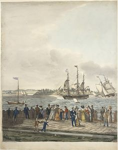 Thomas Thompson (American (born England), ca. 1767–1852). New York Harbor from the Battery, 1829. The Metropolitan Museum of Art, New York. The Edward W. C. Arnold Collection of New York Prints, Maps and Pictures, Bequest of Edward W. C. Arnold, 1954 (54.90.1182(1-3)) #newyork #nyc