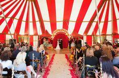 Striped tent circus wedding