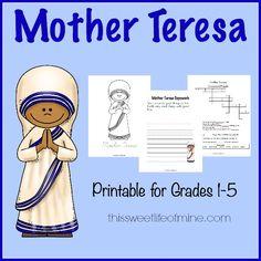 Mother Teresa Printable for grades 1-5   thissweetlifeofmine.com