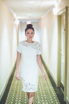 Our Big Night Dress in White is elegant with a little edge and ONLY $42!