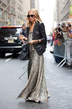 leather jacket + flowing dress