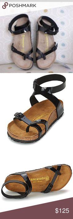 NIB Birkenstock Yara Black Patent Sandal 37 Size 37. Brand new in box. Yara Black Patent leather sandal. Birkenstock Shoes Sandals