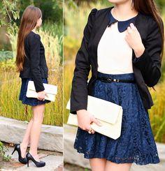 Outfit #peter #pan #collared #shirt #black #blazer #black #belt #blue #floral #skirt #black #kitten #heels #white #clutch #beautiful