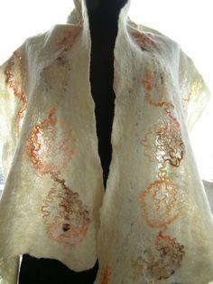 WINTER SUN - merino wool cobweb felted scarf in natural white by LanAArt