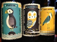 Absolutely love these cider bottle labels illustrating birds of the British Isles