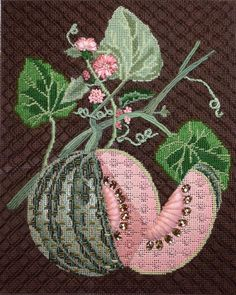 Melissa Shirley canvas. Stitch guide by Beverly Churchfield of Aristeia Needlepoint.