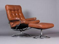 Vintage Mid Century Danish Modern / Scandinavian Ekornes Lounge Chair +  Ottoman In Brown / Terra Cotta Leather