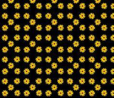 Danita's blackeyed susans on black fabric by midcoast_miscellany on Spoonflower - custom fabric