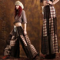 Vintage 90s Plaid Loose Fit Patchwork Gypsy Hippie Boho Airy Festival Pants OS #Altered