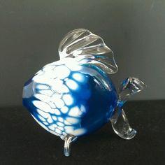 Hand Blown Glass Blue Fish signed by artist Jon Sawyer