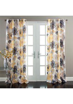 Half Moon Leah 84-inch Yellow/Gray Floral Curtain Panel Pair