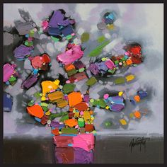 Hobbitholeco Scott Naismith 'Pink Flower Vase' Framed Gel Brush Finish Canvas Wall Art Decor