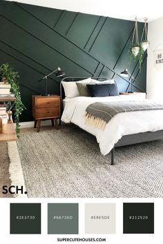 Emerald Green Bedrooms, Green Bedroom Colors, Green Master Bedroom, Coastal Master Bedroom, Bedroom Colour Palette, Bedroom Color Schemes, Bedroom Themes, Home Bedroom, Modern Bedroom