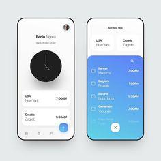 Clock App Design by Emily Ma. Ios App Design, Mobile Ui Design, Dashboard Design, User Interface Design, Interface App, Dashboard Ui, Web Mobile, Mobile App Ui, App Design Inspiration