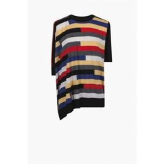 Sonia Rykiel Fine Wool Sweater Asymmetric Intarsia (620 ILS) ❤ liked on Polyvore featuring tops, sweaters, crewneck, knitwear, multicolor, white crew neck sweater, crew-neck sweaters, print sweater, wool sweater and colorful sweaters