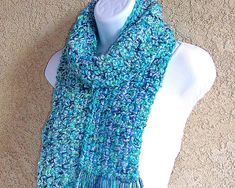 Reserved * Winter Scarf, crocheted in Ocean Blue and Green tweedy double-thick and soft yarn Crochet Scarves, Handicraft, Ocean, Winter, Blue, Craft, Arts And Crafts, The Ocean