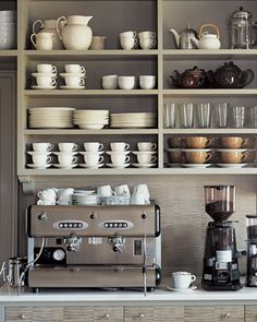 Soft grey open shelving
