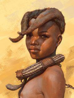 fyblackwomenart: Himba tribe kid study by - Starchild to Creation. African Tribal Girls, Tribal Women, Beautiful African Women, African Beauty, Painting Digital, Himba Girl, Tribes Of The World, Africa People, Kids Study