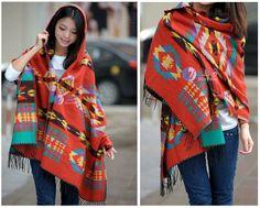 Women Boho Hip Fringed Shawl Jacquard Ethnic Poncho Tassel Aztec ...