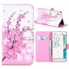 Sony Xperia XA vaaleanpunaiset kukat puhelinlompakko.