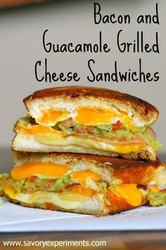 Bacon, Guacamole and Grilled Cheese Sandwiches-  START DROOLING! The best grilled cheese ever with hot, gooey cheese, salty bacon and cool guacamole, find out how to make this unique grilled sandwich! #bacon #grilledcheese #guacamole www.savoryexperiments.com
