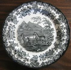 Decorative Dishes - Black White Transferware Toile Victorian Women Parasol Zoo Zebra Plate, $39.99 (http://www.decorativedishes.net/black-white-transferware-toile-victorian-women-parasol-zoo-zebra-plate/)