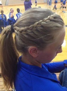 French braid into ponytail. I did it to a lot of the volleybal… French braid into ponytail. I did it to a lot of the volleyball girls for their hair! Looks great keeps your hair away! Athletic Hairstyles, Sporty Hairstyles, Girl Hairstyles, School Hairstyles, Wedding Hairstyles, Everyday Hairstyles, Cheer Hairstyles, Track Hairstyles, Running Hairstyles