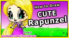 How to Draw Disney Princesses & Characters - Rapunzel from Tangled - Art Drawing Lessons Disney Princess Characters, Disney Princess Drawings, Princess Art, Disney Drawings, Disney Princesses, Cartoon Characters, Drawing Videos For Kids, Easy Drawings For Kids, Drawing Lessons