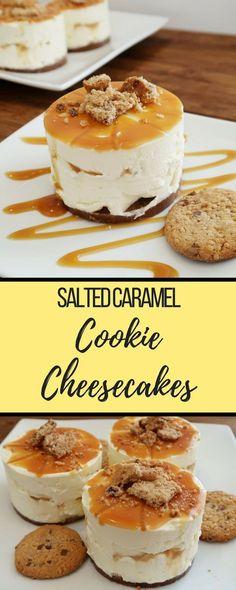 Salted Caramel Cookie Cheesecake recipe. Create these no-bake cheesecakes using salted caramel cookies #cheesecake #saltedcaramel #desserts